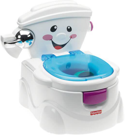 Das Fisher-Price »Meine Erste Toilette« ist ein wahres Hightech-Töpfchen. Es verfügt über fast alles was eine normale Toilette ausmacht.
